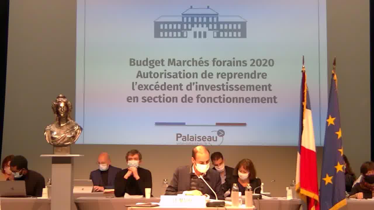 Budget Marchés forains 2020 : autorisation de reprendre l'excédent d'investissement en section de fonctionnement