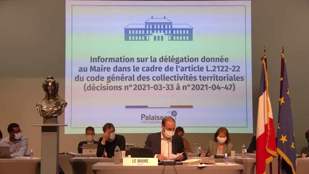 Information sur la délégation donnée au Maire dans le cadre de l'article L.2122-22 du code général des collectivités territoriales (décisions n°2021-03-33 à n°2021-04-47)